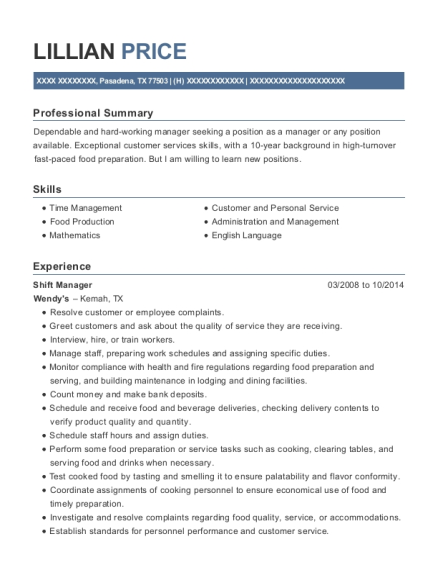 Shift Manager resume sample Texas