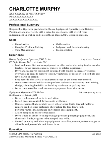 Heavy Equipment Operator resume sample Texas