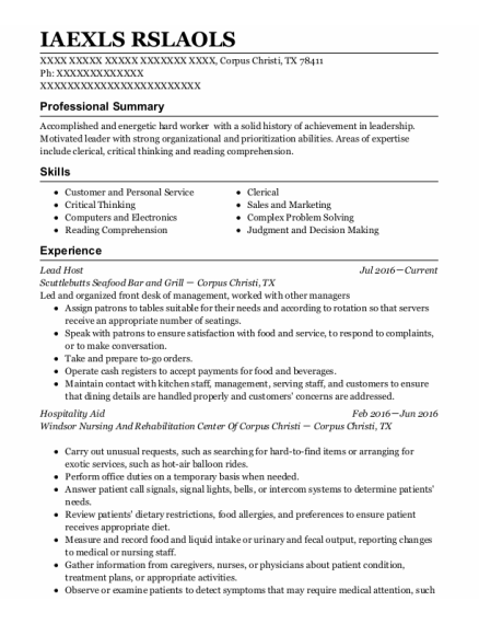 Lead Host resume example Texas