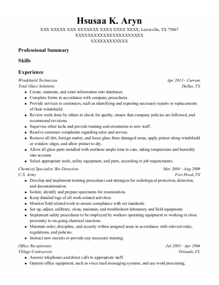 Chemical Specialist resume sample Texas