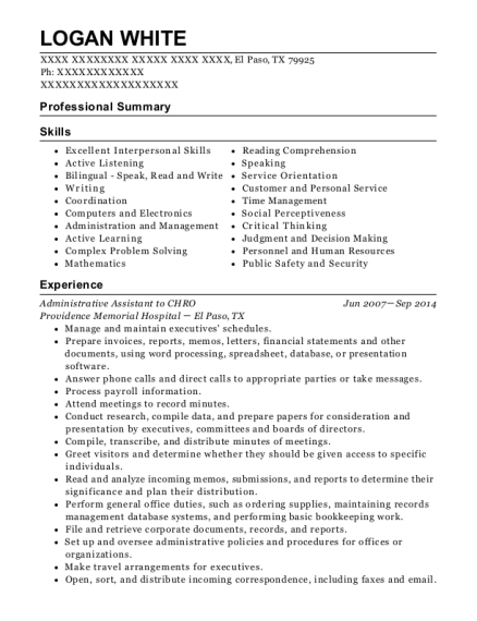 Administrative Assistant to CHRO resume sample Texas