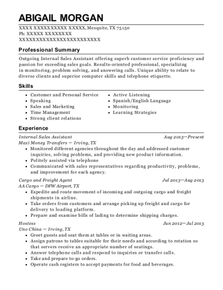 Internal Sales Assistant resume sample Texas