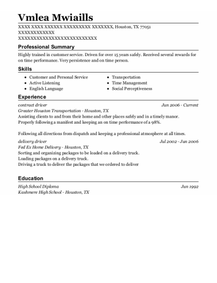 Contract Driver resume example Texas