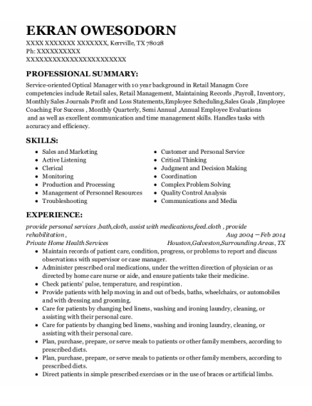 Bather resume format Texas