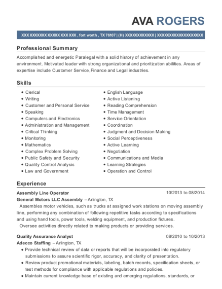 Assembly Line Operator resume sample Texas