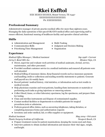 Medical Office Manager resume template Texas