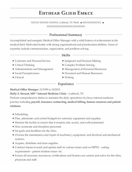 Medical Office Manager resume sample Texas