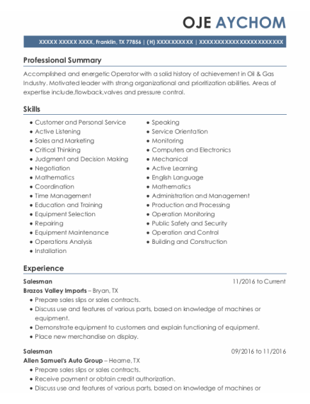 rods production services odessa flowback operator resume