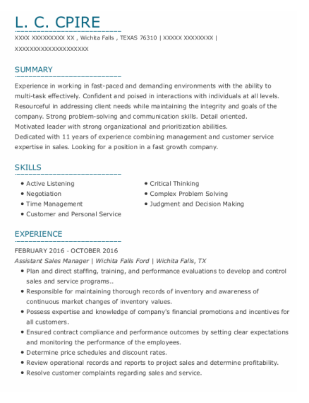 Assistant Sales Manager resume example TEXAS
