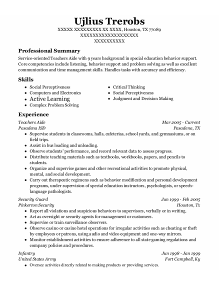 Teachers Aide resume format Texas
