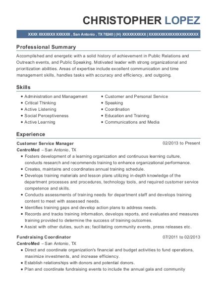 Customer Service Manager resume template Texas