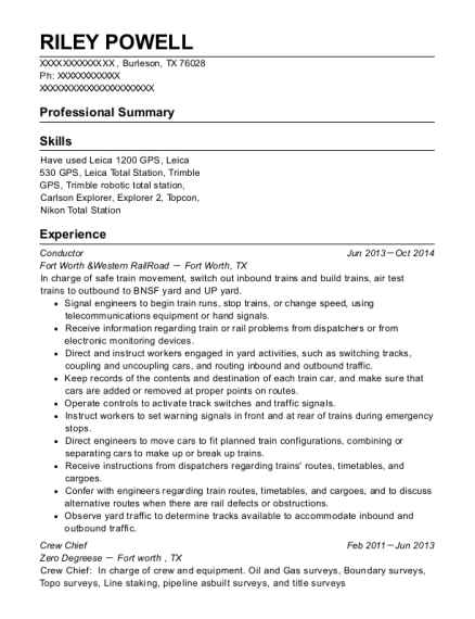 Conductor resume sample Texas