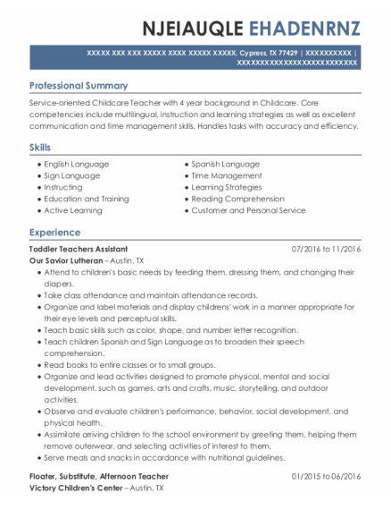 Floater resume example Texas