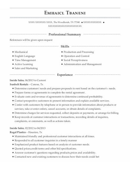 Inside Sales resume template Texas