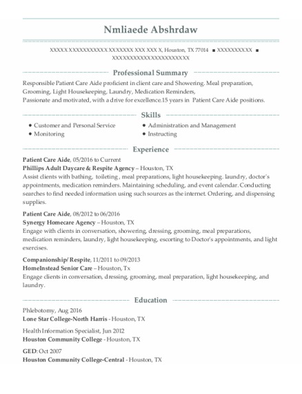 Patient Care Aide resume example Texas