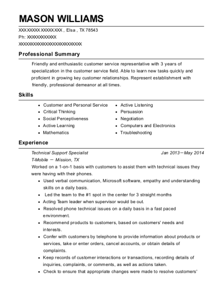 Technical Support Specialist resume example Texas