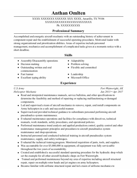 Helicopter Mechanic resume format Texas