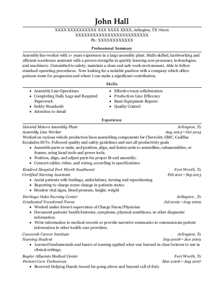 Assembly Line Worker resume format Texas