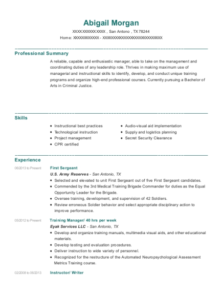 First Sergeant resume template Texas