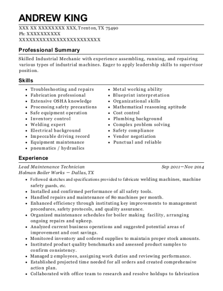 Lead Maintenance Technician resume sample Texas