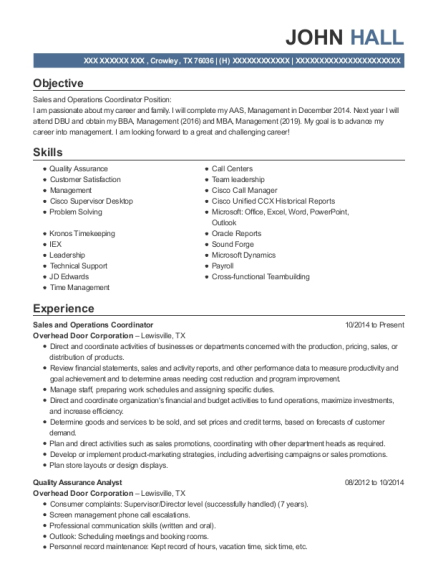 Sales and Operations Coordinator resume format Texas