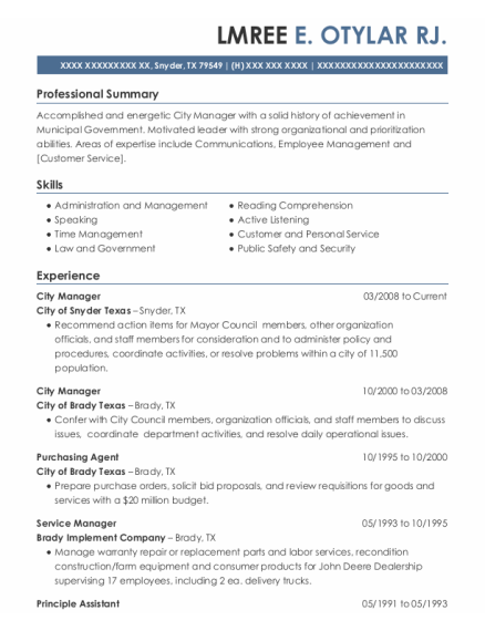 City Manager resume sample Texas