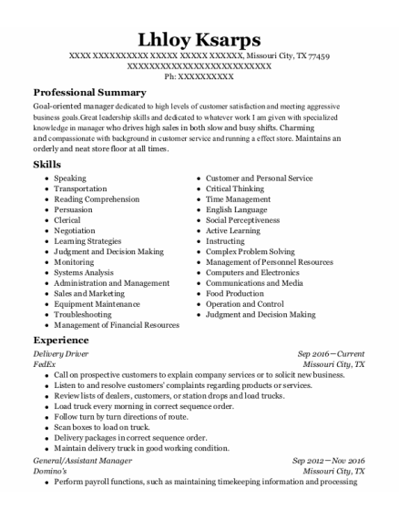 Delivery Driver resume sample Texas