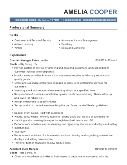Counter Manager Estee Lauder resume template Texas