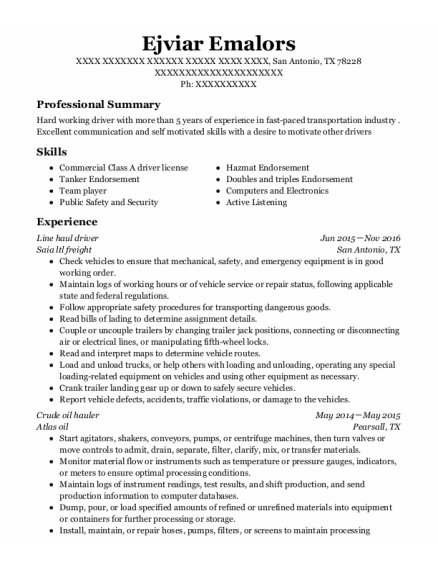 Line Haul Driver resume format Texas