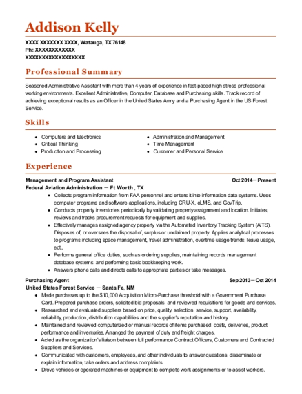 Management and Program Assistant resume example Texas