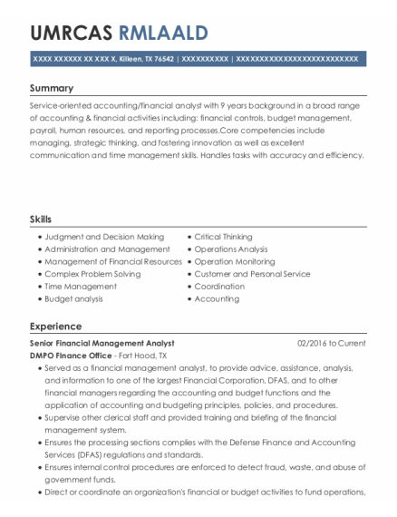 Budget Analyst resume sample Texas
