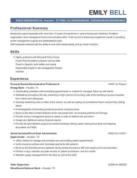 Personal Banker resume format Texas