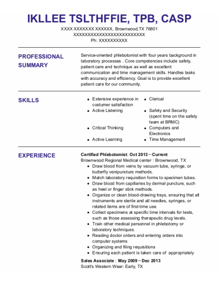 Certified Phlebotomist resume example Texas