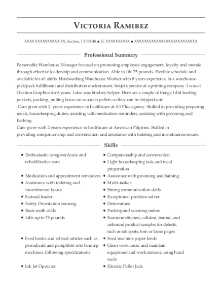 Care Giver resume template Texas