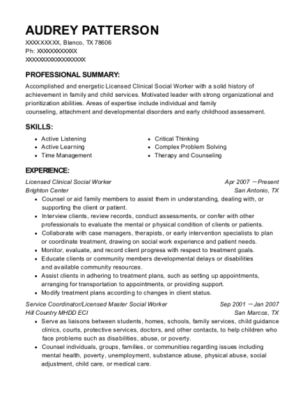 Licensed Clinical Social Worker resume sample Texas