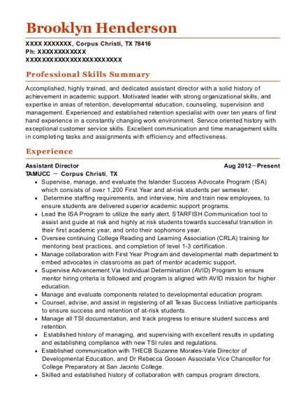 Assistant Director resume sample Texas