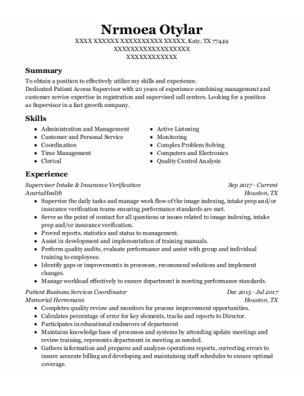 Patient Access Supervisor resume template Texas