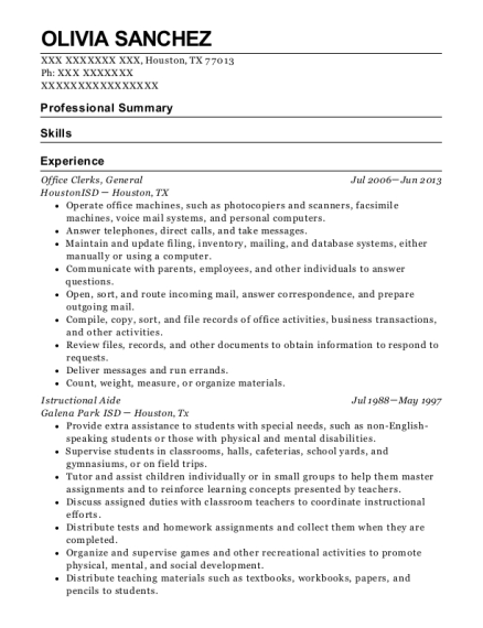 Office Clerks resume template Texas