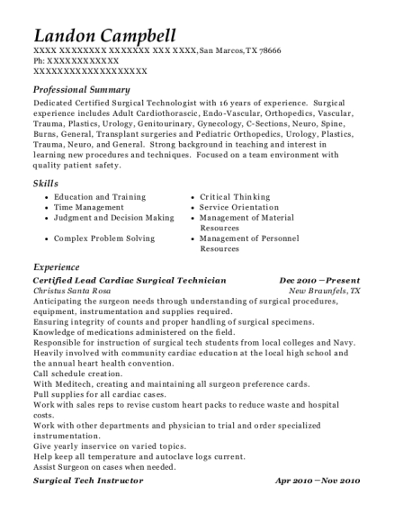 Certified Lead Cardiac Surgical Technician resume example Texas
