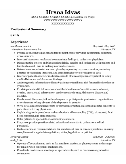 Healthcare Provider resume format Texas