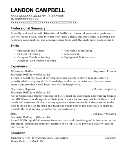 Directional Driller resume template Texas