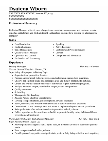 Dietary Manager resume example Texas