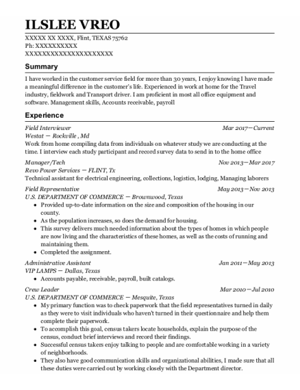 Field Interviewer resume example TEXAS
