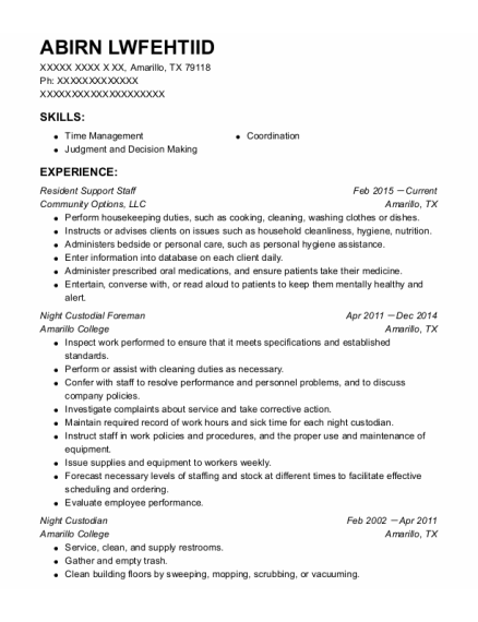 Night Custodian resume example Texas