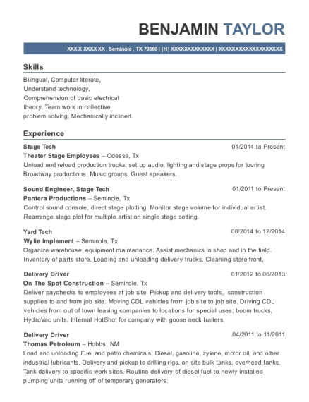 Stage Tech resume format Texas
