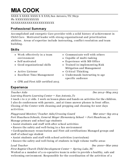 Teacher Aide resume sample Texas