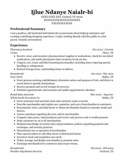 Pharmacy Assistant resume template Texas