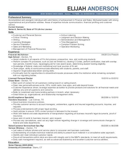 Financial Aid Advisor resume template Texas