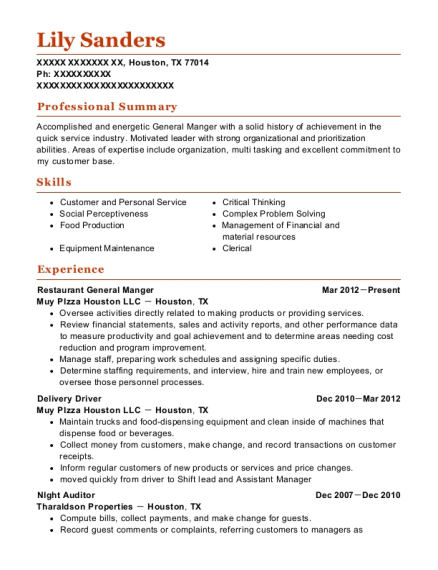 Restaurant General Manger resume example Texas