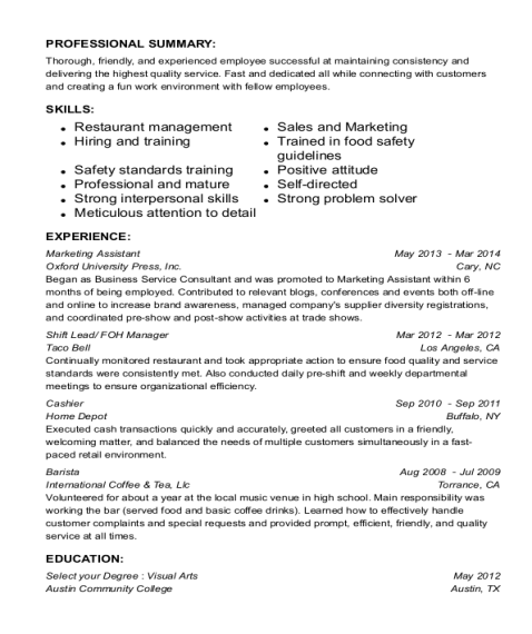 Marketing Assistant resume format Texas